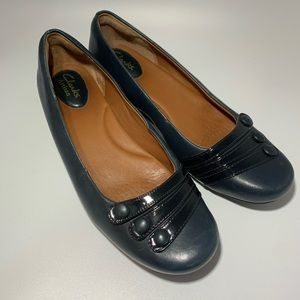 Clarks Concert Drum Leather Navy Flats